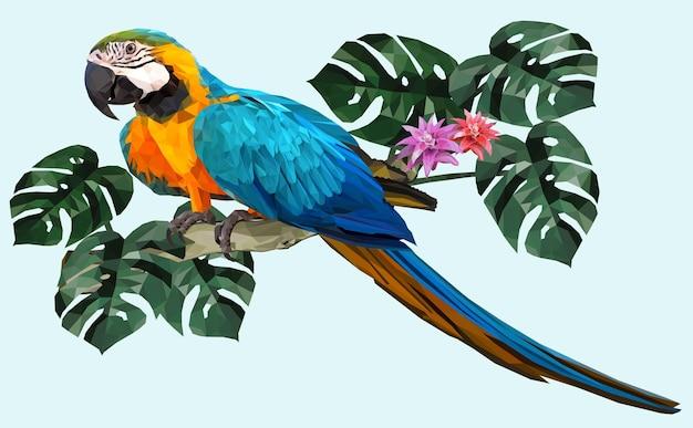 Polygonaler illustrations-ara-vogel mit amazonas-waldblättern.
