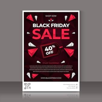 Polygonaler schwarzer freitag vertikale plakatvorlage mit farbverlauf