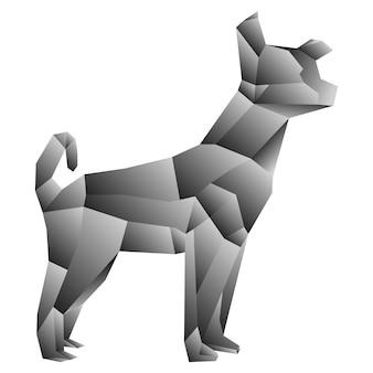 Polygonaler stil der hundesteigung lokalisiert auf einem weißen hintergrund. vektorillustration