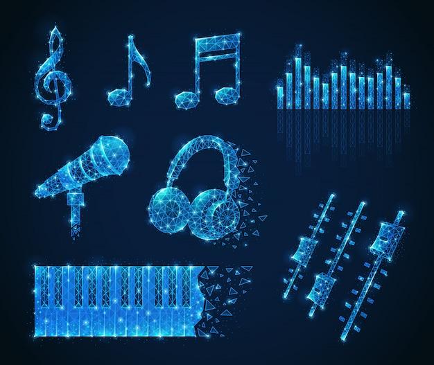 Polygonales drahtgitterset für musikmedien mit isolierten, leuchtenden bildern mit formnotizen, mikrofonkopfhörern und tasten