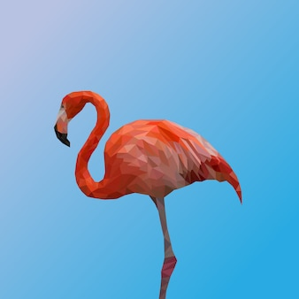Polygonales geometrisches des erstklassigen vektors des flamingos
