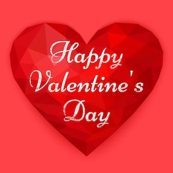 Polygonales herz mit valentinstag