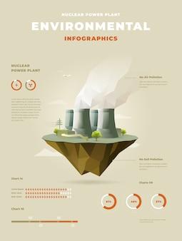 Polygonales kernkraftwerk auf schwimmenden inselinfografiken