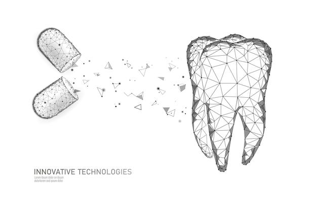 Polygonales konzept der zahnzahninnovation 3d.