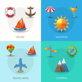 Polygonales set für reisen