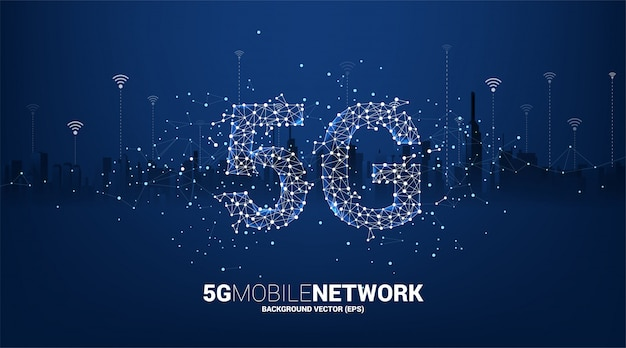 Polygonpunkt verbinden linienförmiges 5g-mobilfunknetz mit stadthintergrund. konzept für mobile sim-kartentechnologie und netzwerk.