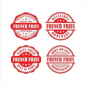 Pommes frites briefmarken vektor-design-sammlung