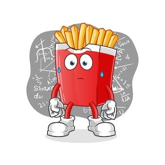 Pommes frites denken hart isoliert auf weiß
