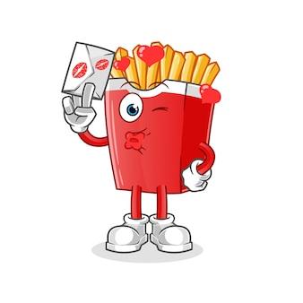 Pommes frites halten liebesbriefcharakter