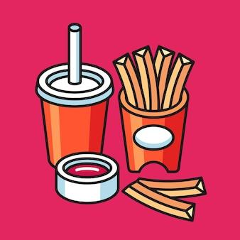 Pommes frites illustrationsset