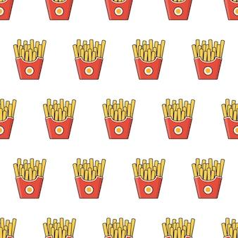 Pommes-frites im pappschachtel-nahtlosen muster. fast-food-box-thema-illustration