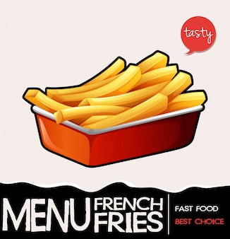 Pommes frites im roten tablett