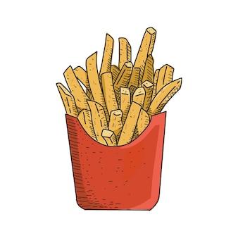 Pommes frites im vintage handgezeichneten stil. sofort einsatzbereit.