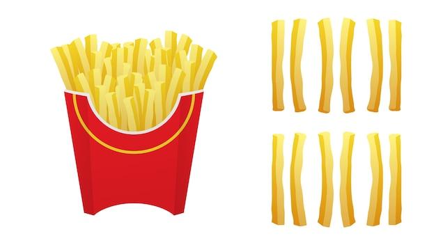 Pommes frites in einer roten box. satz pommes frites isoliert
