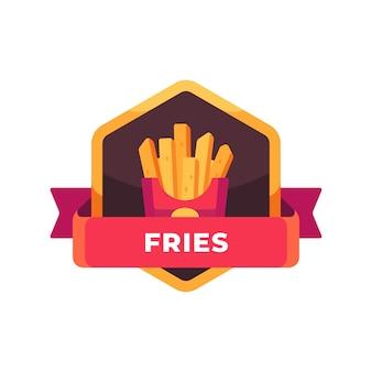 Pommes frites in einer roten papierverpackung. fast-food-etikett