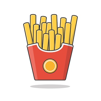 Pommes frites in papierbox. kartoffel-pommes in fast-food-box
