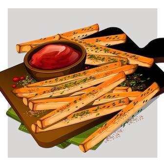 Pommes frites kartoffel mit ketchup