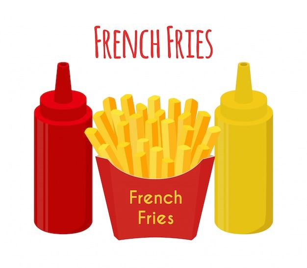 Pommes frites, ketchup, senf, bratkartoffeln.