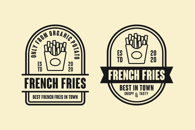 Pommes frites logo design kollektion