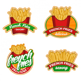 Pommes-frites-logovorrat-vektorsatz