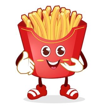 Pommes frites maskottchen cartoon