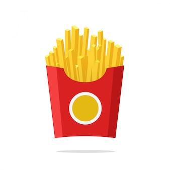 Pommes-frites oder bratkartoffeln in der flachen karikatur der papierkastenvektor-illustration