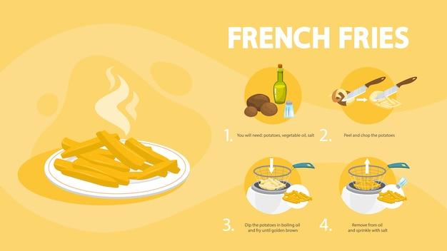 Pommes frites rezept. zu hause leckeren snack kochen