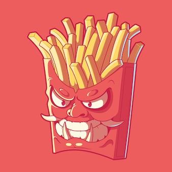 Pommes frites samurai charakter illustration. fast food, maskottchen, markendesign-konzept.