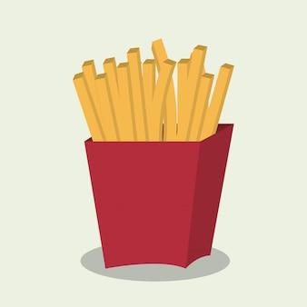 Pommes-frites-schnellimbissdesign lokalisiert