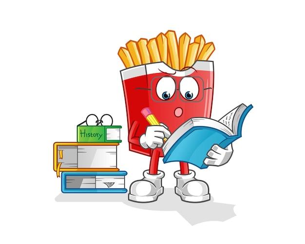Pommes frites studieren maskottchen. karikatur