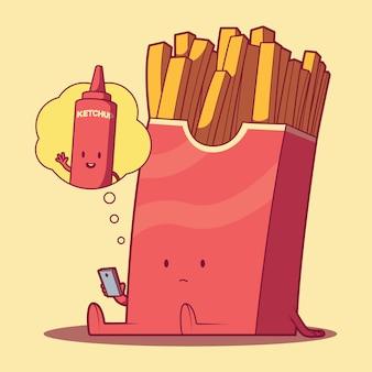 Pommes frites tagträumen essen phantasie lustig