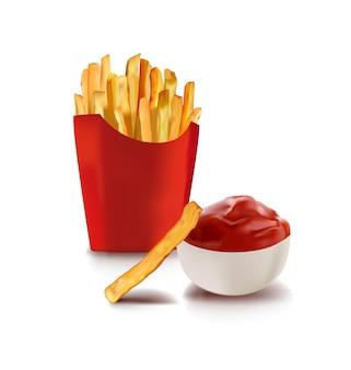 Pommes frites und ketchup-tomatensauce in keramiktasse gebratene kartoffelchips in frittieröl