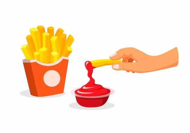 Pommes frites von hand in tomatensauce tauchen. snackkartoffel-fast-food-menüsymbol in der karikaturillustration