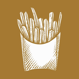 Pommes-friteshand gezeichnet, artillustrationen gravierend