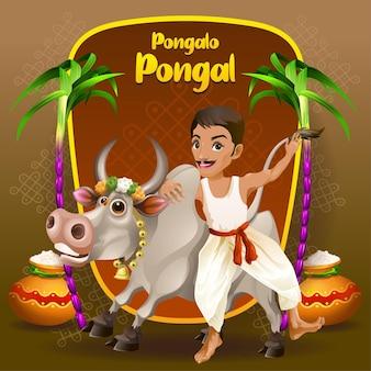 Pongal grüße mit happy farmer und stier