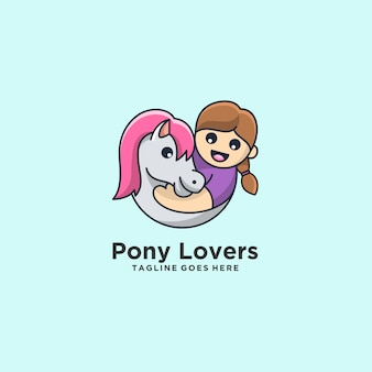 Pony lovers horse with children nette illustration.