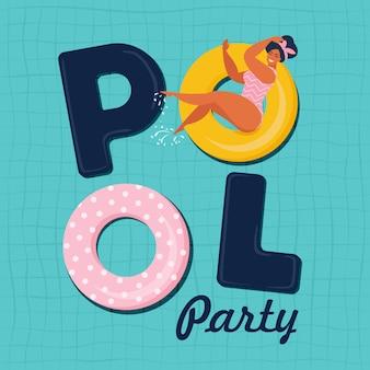 Pool-party einladungsvektorabbildung. draufsicht des swimmingpools mit poolflößen.