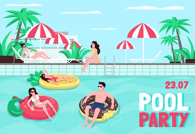 Pool party poster vorlage. mann auf aufblasbarem ring. frau, die auf luftmatratze schwimmt. broschüre, broschüre einseitiges konzept mit comicfiguren. flyer am pool, broschüre