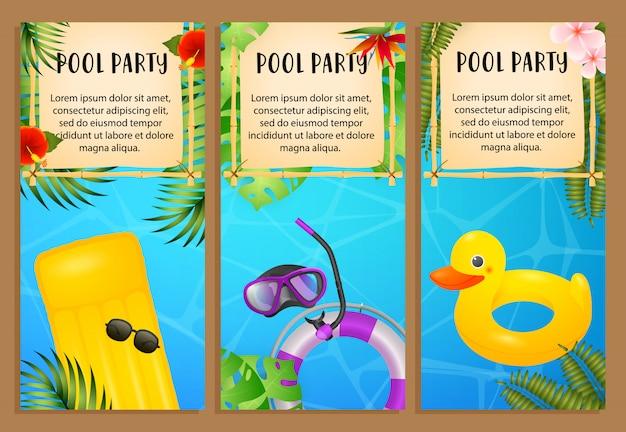 Pool party schriftzüge set, luftmatratze, schwimmring