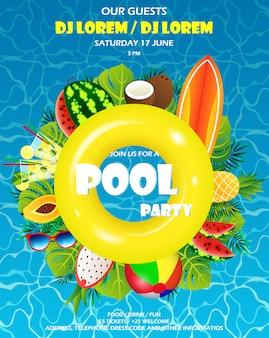 Pool sommerparty einladungsbanner. aufblasbare gelbe matratze mit wasser und palmen, sommerutensilien, surfbrett