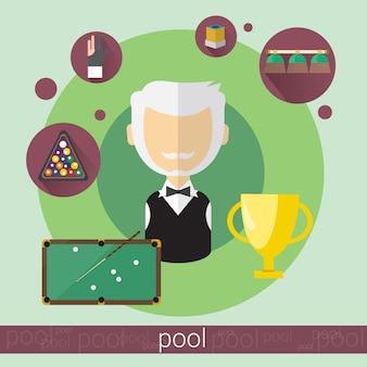 Pool-spiel-spieler-älterer mann-billard-ikone