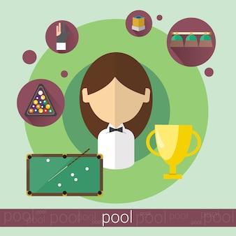 Pool-spiel-spieler junges mädchen-billard-symbol