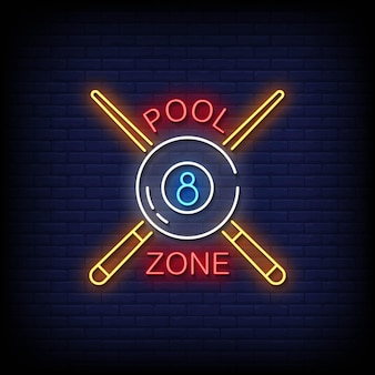 Pool zone neon signs style text vektor