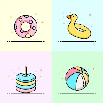 Poolspielzeugsammlung in pastellfarbe