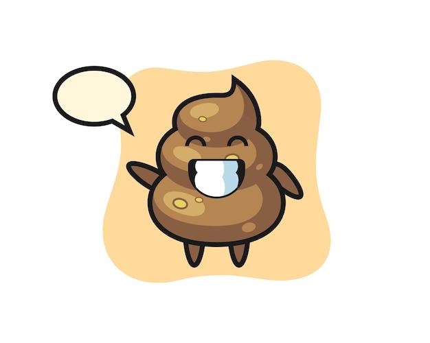 Poop-cartoon-figur, die wellenhandgeste macht, niedliches design für t-shirt, aufkleber, logo-element