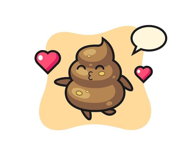 Poop-charakter-cartoon mit küssender geste, niedlichem design für t-shirt, aufkleber, logo-element