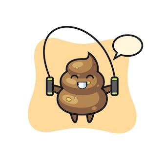 Poop-charakter-cartoon mit springseil, süßes design für t-shirt, aufkleber, logo-element