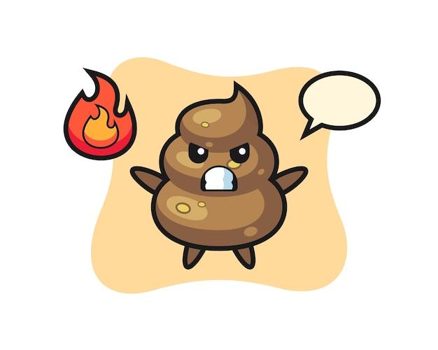 Poop-charakter-cartoon mit wütender geste, süßes design für t-shirt, aufkleber, logo-element