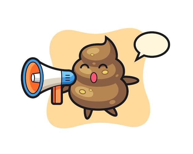 Poop-charakterillustration, die ein megaphon hält, niedliches design für t-shirt, aufkleber, logo-element