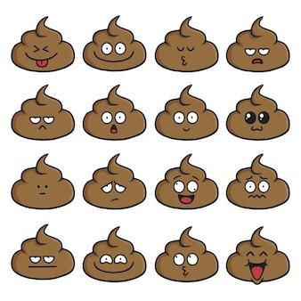 Poop gesicht niedlichen cartoon set vector illustration pack collection